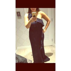 Calvin Klein Navy One Shoulder Gown